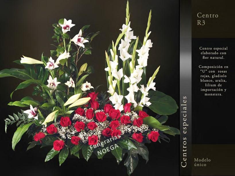 Centro de rosas rojas gladiolo blanco y montsera for Jardin noega tanatorio gijon esquelas