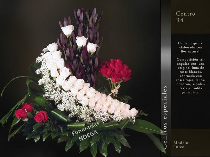 Centro de rosas blancas y rojas y aspidistra funerarias for Jardin noega tanatorio gijon esquelas
