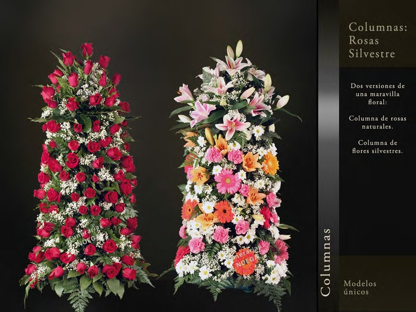 Columna De Rosas Naturales Y Flores Silvestres Funerarias Noega
