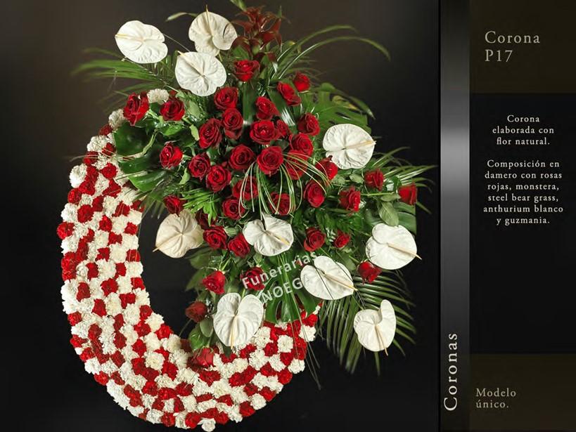 Corona de rosas rojas montsera y guzman a funerarias noega Jardin noega tanatorio gijon esquelas