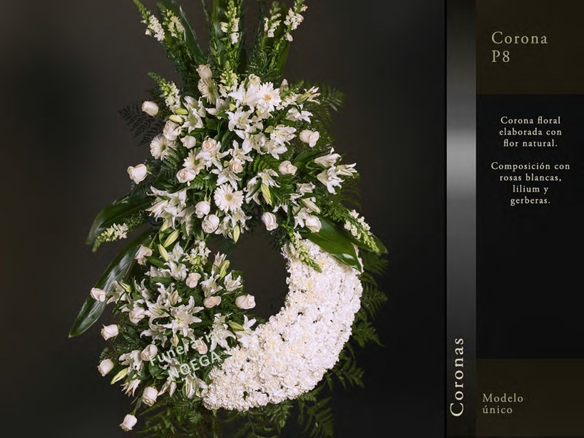 Corona de rosas blancas lilium y gerberas funerarias noega for Jardin noega tanatorio gijon esquelas