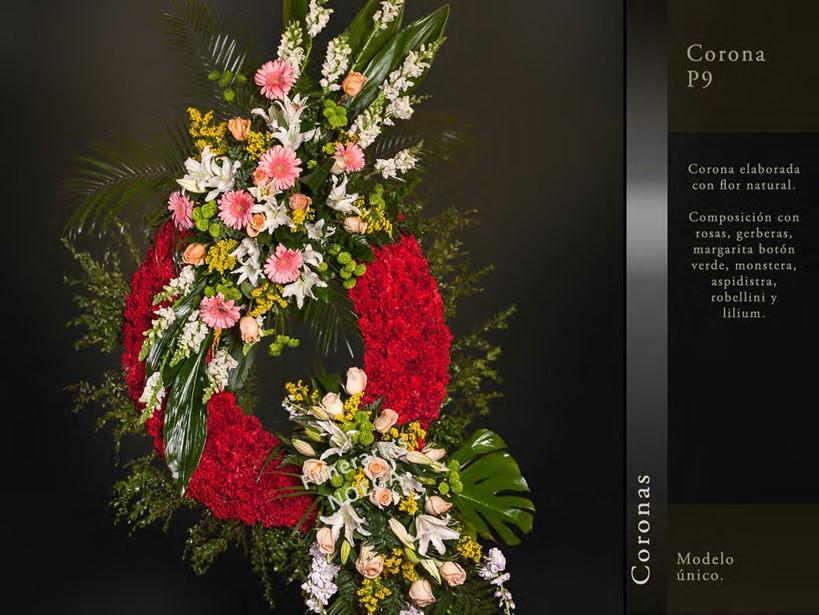 Corona de rosas gerberas margaritas y lilium for Jardin noega tanatorio gijon esquelas