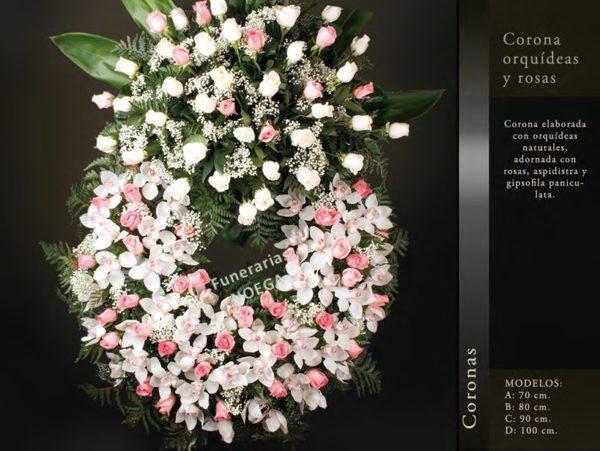 Corona orquideas y rosas