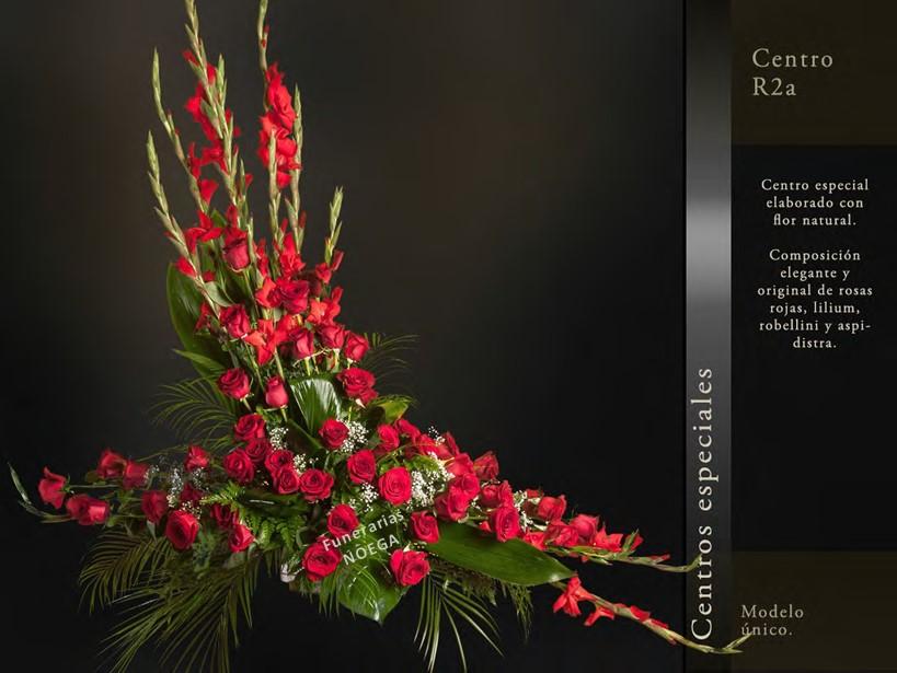 Centro de rosas rojas lilium robellini y aspidistra for Jardin noega tanatorio gijon esquelas