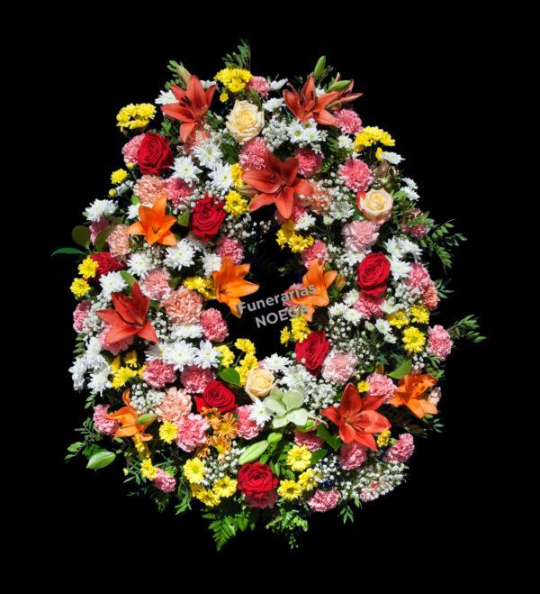 Corona fúnebre de claveles, lilium, margaritas y rosas   Funerarias Noega